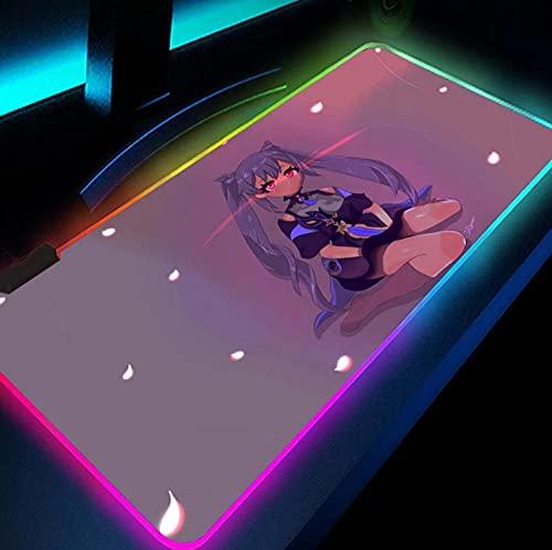 Alfombrillas de ratón Rosa Anime Genshin Impact Gaming RGB Teclado Mat Gamer Girl Alfombra Computadoras de Escritorio Protector de Escritorio Accesorios para Pc Alfombrilla de Ratón XXL 900x400mm