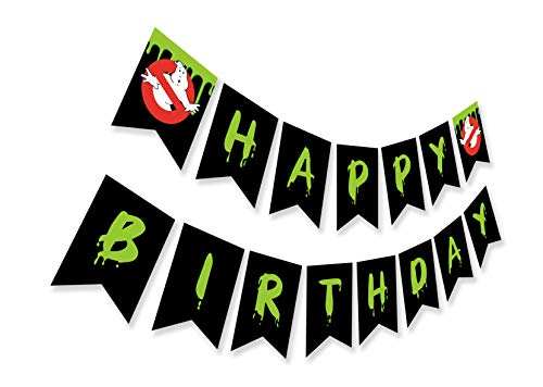 Ghost Busters Inspired Happy Birthday Banner, Horror Theme Bday Party Sign, Ghostbusters Halloween Bunting Decoration