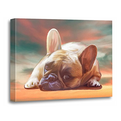 TORASS Canvas Wall Art Print Dog French Bulldog Water Color Painting Pet Artwork for Home Decor 16' x 20'