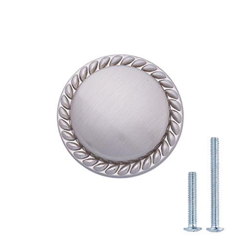 AmazonBasics - Schubladenknopf, Möbelgriff, gemusterter Rand, rund, Durchmesser: 3,17 cm, Satinierter Nickel, 10er-Pack