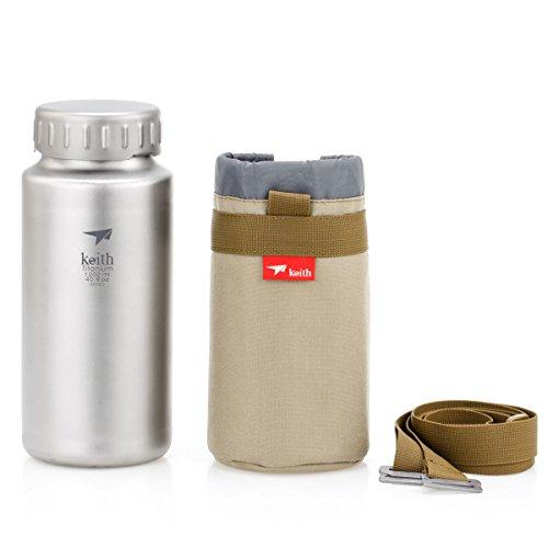 iBasingo 1. 2 L Titan Wasserflasche Outdoor Sport Große Kapazität Weithalsflasche mit Deckel Radfahren Trinkflasche Topf mit Tragetasche(Ti3036)