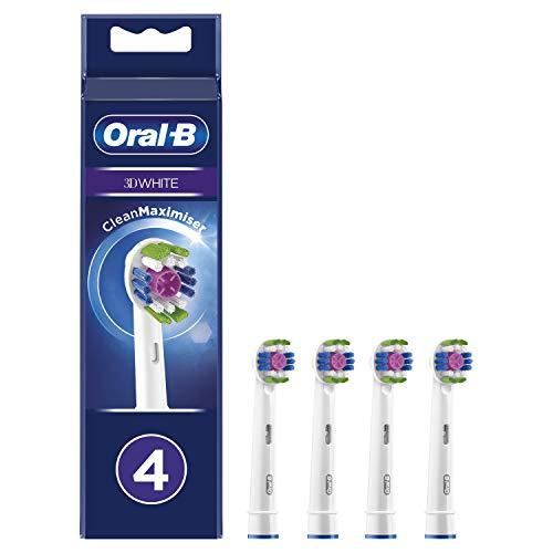 Oral-B 3D White Ersatzbürsten für elektrische Zahnbürste mit CleanMaximiser-Technologie, 4 Stück
