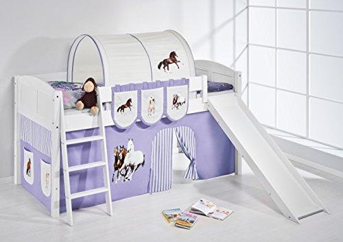 Lilokids Spielbett IDA 4106 Pferde Lila Beige-Teilbares Systemhochbett weiß-mit Rutsche und Vorhang Kinderbett, Holz, 208 x 220 x 113 cm