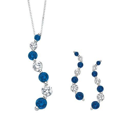 Azul y blanco Diamond Alterna 'viaje de amor' Curve con circonitas en 14K oro blanco (3/4quilates)