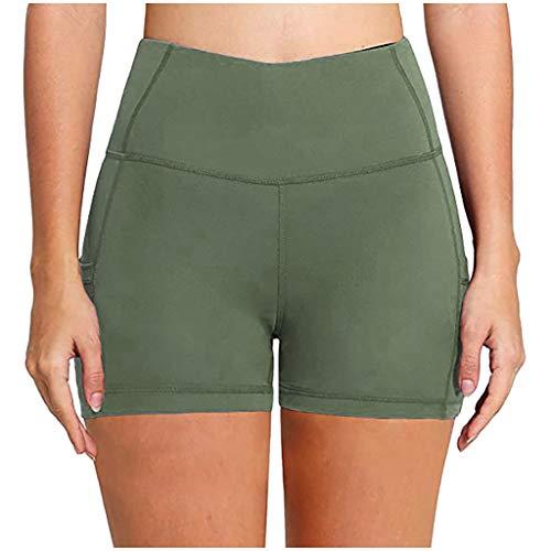 2021 Nuevo Mujer Leggings Pantalones Corto, Elásticos Mallas de Bolsillo Color sólido Alta Cintura Pantalones Moda Fitness Gym Yoga Slim Fit Cómodo Basic Pant Deportivos Running Jogging Pantalon
