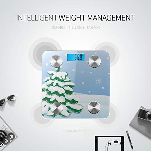 Bluetooth Body Fat Scale Snowy Winter Landscape Smart Wireless Scale with LCD Display Measuring Body Weight Bmi and Health Digital Scale Best Bathr