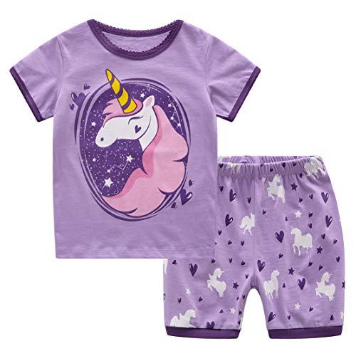 2 Piezas Niña Pijamas Unicornio Verano Algodón Conjunto Corto Bebe Niña Ropa Manga Corta 2-7Años
