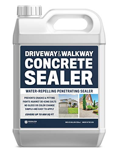 Driveway And Walkway Concrete Sealer - Repels Water, Prevents Cracks, And Fights De-Icing Salts - 1 Gallon(Covers Up To 600SqFt) Clear Penetrating Sealant   No Gloss No Color Change - Easy Application