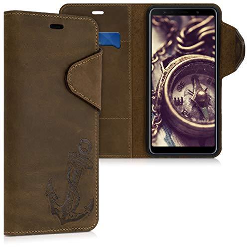 kalibri Wallet Hülle kompatibel mit Samsung Galaxy A7 (2018) - Hülle Leder - Handy Cover Handyhülle Anker Vintage Braun