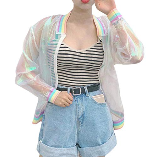 Gyratedream Harajuku Summer Women Jacke Rainbow Symphony Hologram Women BasicCoat Clear Irisierende transparente Bomberjacke Sunspot