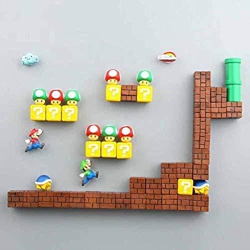 ZP-MIN 63 imanes de resina 3D de Super Mario para nevera, juguetes para niños, decoración del hogar, figuras de mural, imanes de balas, ladrillos, 18 combinaciones, 54 combinaciones