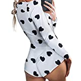 Women Bodycon Jumpsuits, Deep V Neck Shorts Jumpsuit Long Sleeve One Piece Bodysuit Pajama Bodycon Rompers Overall (B-Black Heart, M)