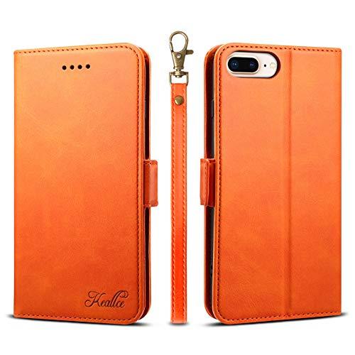 iPhone SE ケース 第2世代 手帳型 iphone8 ケース アイフォン7 iphone6s カードケース サイドマグネット スタンド機能 アイフォン6 スマホケース 財布型 カバー オレンジ 4.7inch