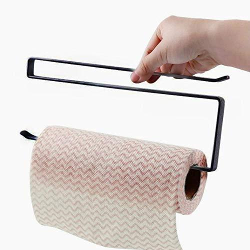 XGQ Estante de papel para colgar en la puerta, 3 unidades, para colgar toallas, capa de partición, papel de cocina, película adhesiva (color: negro)