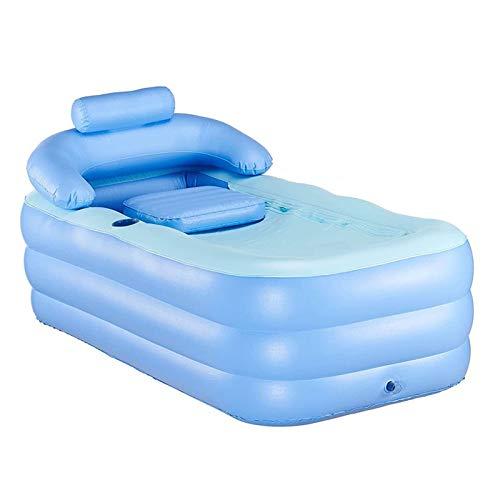 GCHH Balneario Portátil De PVC Plegable Bañera Inflable Bañera Piscina Infantil Piscina Inflable Bañera De Aire para Inflar, Antideslizante, Bañera Caliente SPA, Color Azulblue