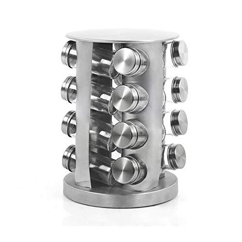 Rubyu - Carrusel para Especias con 16 tarros de Especias, de Acero Inoxidable, Multifuncional, Giratorio 360°, diseño Moderno, Color Plateado