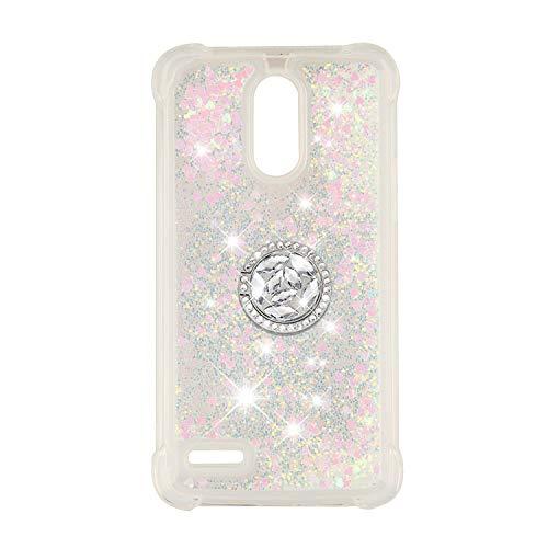 FAWUMAN Coque pour LG Stylus 3 / LS777 / Stylo 3,Brillante Cristal Diamant Anneau Socle de téléphone Liquide Dégradé Transparente Silicone TPU Étui Antichoc Coques (Couleur)