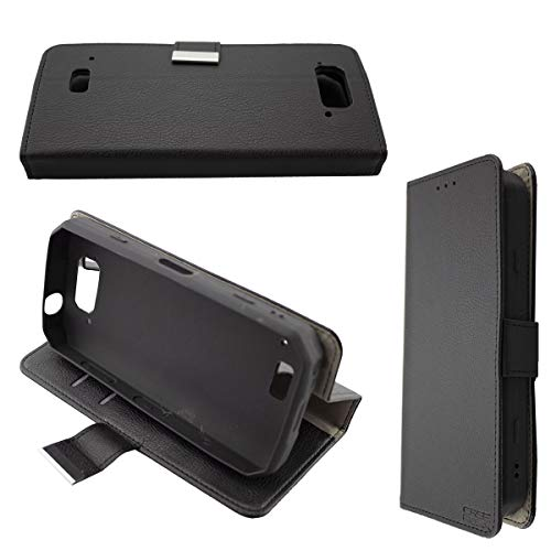 Casco para Blackview BV9500 / BV9500 Pro / BV9500 Plus, Bookstyle-Case Funda Protectora a Prueba de Golpes para Smartphone (Carcasa de Color Negro)
