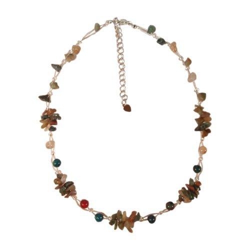 Chic-Net Grün Rot Blaue Bunte Damen- Halskette aus Perlen und Steinsplitter,42-48 cm lang
