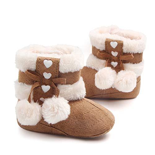 Gavena Botitas y Botas de Bebés Unisexo Zapatos de Invierno Cálido para Niño Niñas 6-24 Meses Rosado Rojo