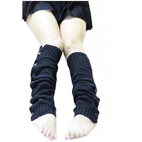 Vovotrade Femmes Chic Tissage Extensible Bottes Legging avec Boutons Chaud et à la mode (Noir)