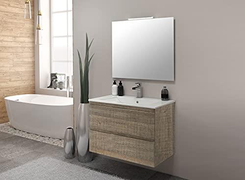 Inmocore Neptuno Mueble de Baño Suspendido 2 Cajones con Lavabo Cerámico 1 Seno, Wood, Amazona, 70 cm