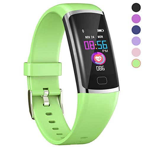 Polywell Fitness-Tracker, Aktivitätstracker mit Herzfrequenz-Monitor und Schlaf-Monitor, Bluetooth, wasserdicht, Schrittzähler und Kalorienzähler für Android und iOS (Green)