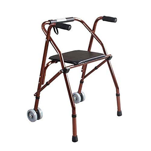 LXLH Leichter Gehrahmen mit 2 Rädern und Sitzmobilitätshilfe Hoch Verstellbarer, klappbarer Rollator für Senioren