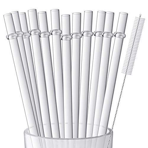 12 Pieces 9 Inches Clear Reusable Plastic Straws for Tall Cups, Tumblers and Mason Jars, BPA-Free Unbreakable Drinking Straws with 1 Cleaning Brush, Not Dishwasher Safe