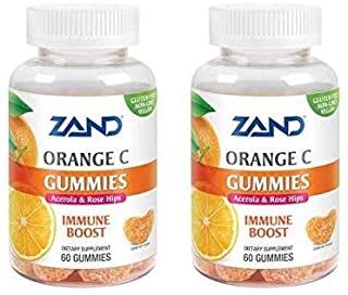 Zand Orange C Gummies (Pack of 2) with Vitamin C, Acerola Fruit, Tapioca, Arnica, Rosehip and Annatto, 60 Count Each