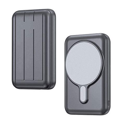 TopACE モバイルバッテリー 【最新 PSE認証済】Mag-Safe対応 iPhone12/Pro/Pro Max/mini ワイヤレス充電 軽量 小型 磁気式 コンパクト 携帯バッテリー 無線と有線両用 10000mAh 大容量 15W充電 急速充電対応 マグネット内蔵 (グレー)