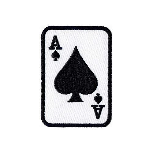 Lucky Patches, Aufnäher, Applikation, Aufbügler, Iron on Patch - Spielkarten, Kartenspiel, Ass, Herz, Karo, Pik, Poker, Rommé, Canasta - 5,3 x 7,3 cm (Pik)