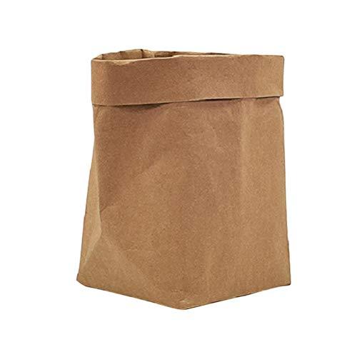 VOSAREA Waschbare Papiersack Wiederverwendbare Papier Blumentopf Müllsäcke Müllbeutel Abfallsack Sack aus Kraftpapier Aufbewahrungsbox - XL (Braun)
