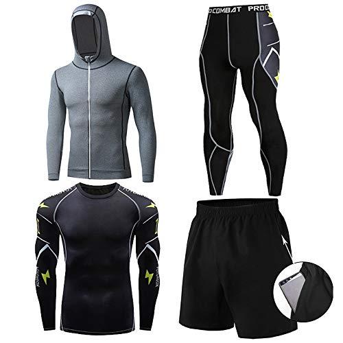 GHQYP Ropa De Deporte Chico Fitness Conjunto,Ropa de Entrenamiento de Gimnasio Ajustada de Manga Larga, Juego de 4 Piezas,Style3,Men-XL