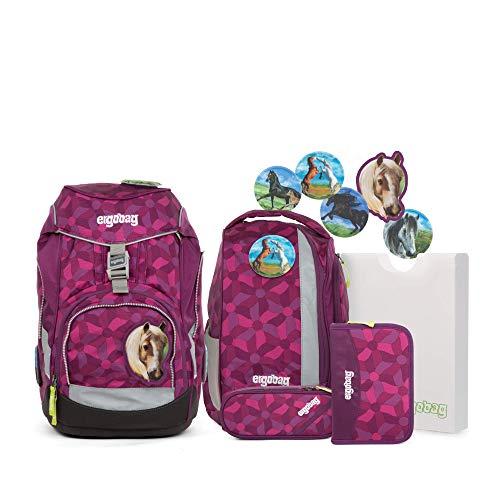 Ergobag Pack NachtschwärmBär -Lila, ergonomischer Schulrucksack, Set 6-teilig, 20 Liter, 1.100 g, Lila