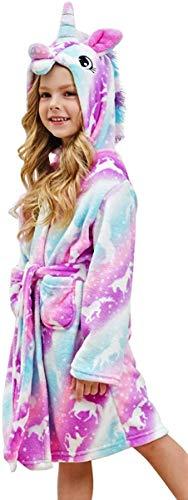 Msrlassn Kinder Weiches Einhorn Kapuzen Bademantel Nachtwäsche - Einhorn Geschenke für Mädchen (Pink Galaxy Einhörner, 12-13 Jahre)