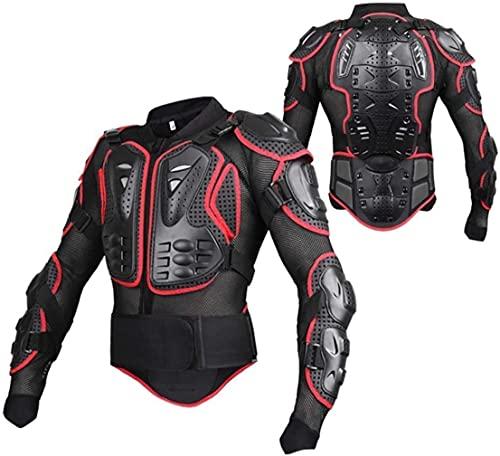 UPBIKE Chaqueta de protección para motocicleta Pro Motocross ATV con protector de espalda Scooter MTB Enduro para hombre + guantes, rojo y negro, S