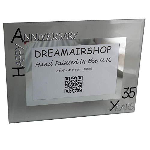 Dreamair Personalizado 35 AÑO Boda (Coral) Marco DE Fotos Aniversario (L) (Negro/SIL)
