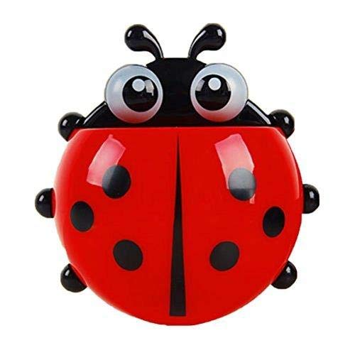 HANBIN Storage Organizer Cute Cartoon Ladybug Kids Wall Ventosa Mount Mount Cepillo de dientes Holder Titular del cepillo de dientes Pencil and Pen Container Box Organizador de viaje Plastic Pocket