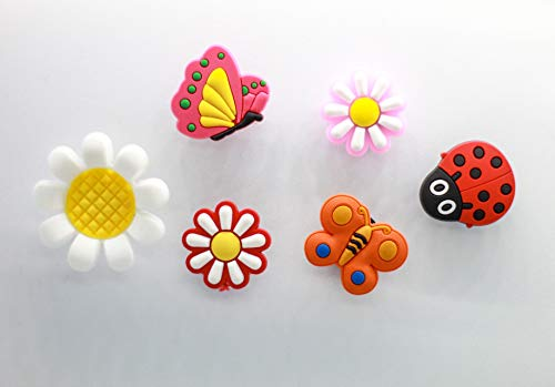 6 Summer Garden Flowers, Butterflies & Ladybird Shoe Charms For Crocs & Jibbitz Wristbands