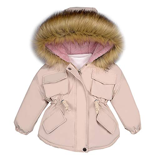 LPATTERN Kinder Winterjacke Mädchen Wintermantel mit Fellkapuze Winddicht Warme Verdicken Winter Mantel Parka Outdoorjacke, Beige, 104-110