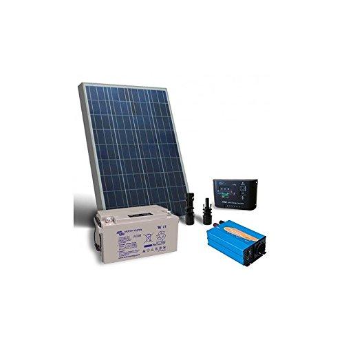 Kit Solar Rifugio Base 80W 12V Placa Solar Inversor Regulador Batteria 38Ah