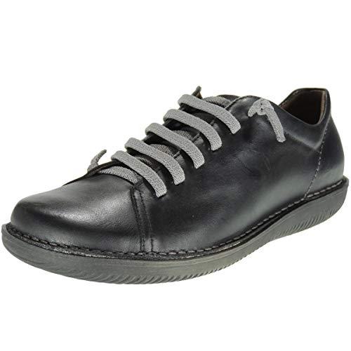 BOLETA 200 Zapato Piel Llano Casual Cordones Elásticos Cosido para Mujer Negro Talla 37