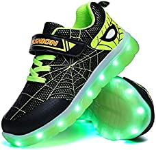 YUNICUS Toddler Boy Light Up Shoes, Kids Tennis Shoes Boys Sneakers Athletic Running Shoes for Girls Toddler Little Kid (Little Kid 2M, Black/Green)