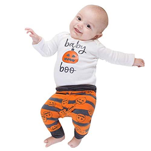 Staresen Nouveau-Né 3Pcs Pyjama Ensemble BéBé GarçOn Fille Halloween Citrouille Coton Barboteuse Manches Longues Et RayéE Pantalon Costume Et Chapeau 3-24 Mois