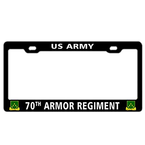 Invinciblefrme Cool Aluminum Car Auto License Plate Frame - Holder Funny Humor Standard Size for US Vehicles US Army 70th Armor Regiment