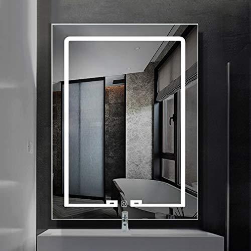 Miroir de salle de bains de cadre de dos d'alliage d'aluminium, miroir de maquillage fixé au mur avec la lumière de LED au-dessus de la vanité, commutateur futé de contact, miroir de mur de rectangl
