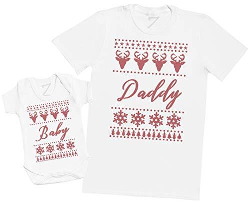 Zarlivia Clothing Christmas Baby Sweater Design - Ensemble Père Bébé Cadeau - Hommes T-Shirt & Body bébé - Blanc - XXL & 0-3 Mois
