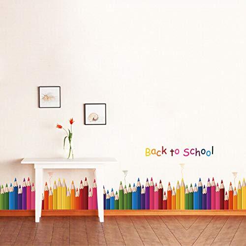 TAOYUE Cartoon Kleur Potlood Baseboard Muurstickers voor Kids Kamers Kwekerij Decoratie Woonkamer Slaapkamer Mural Art Decal Home Decor