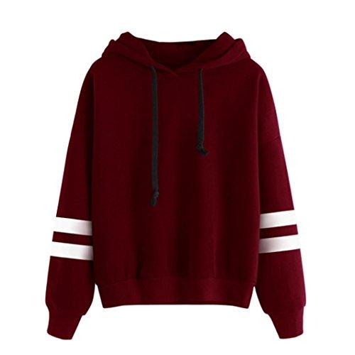 VEMOW Damen Hoodie, Langarm Sweatshirt Pullover mit Kapuze Einfarbig Tops Bluse (34/S, Rot)